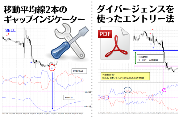 ニュートンFX専用特典①移動平均線2本のギャップインジケーター②ダイバージェンスを使ったエントリー法解説
